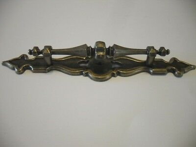 Vintage NOS Antique BRASS Plated Metal Dresser DRAWER Pull w Back Plate Handle
