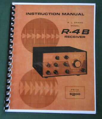"Drake R-4B Instruction manual: 11"" x 17"" Foldout Schematic & Protective Covers!"