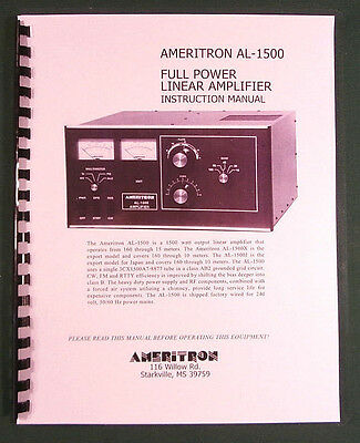 Ameritron AL-1500 Instruction Manual - ring bound with protective covers!
