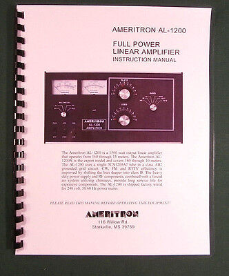 Ameritron AL-1200 Instruction Manual - Ring Bound with Protective Covers!