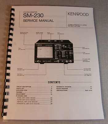 Kenwood SM-230 Service Manual - Premium Card Stock Covers & 28 LB Paper!