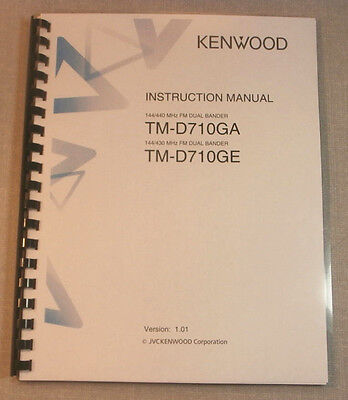 Kenwood TM-D710GA/E Instruction Manual:  Premium Card Stock Covers & 28 LB Paper