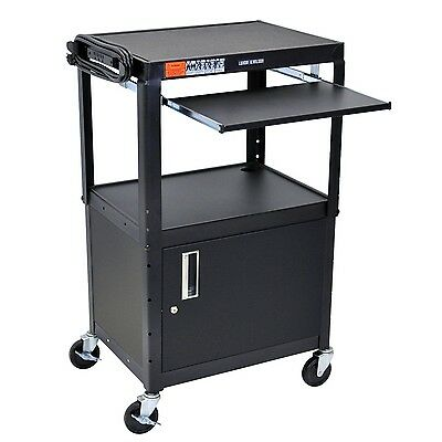 Luxor Furniture AVJ42KBC Turing Computer Cart with Cabinet, Black New