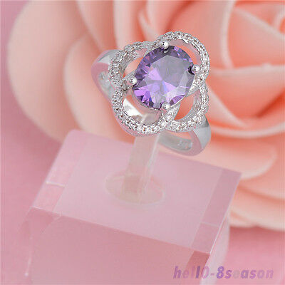 18K White Gold Plated Fashion Purple Cubic Zirconia Perfect Ring Size 7/8/9