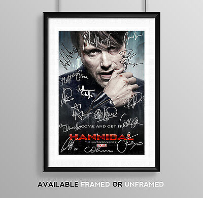 Hannibal Cast Signed Autograph Print Poster Photo Tv Show Series Season Dvd