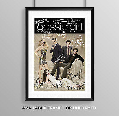Gossip Girl Full Cast Signed Autograph Print Poster Photo Tv Show Dvd