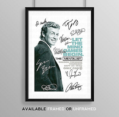 The Mentalist Cast Signed Autograph Print Poster Photo Tv Show Series Season Dvd