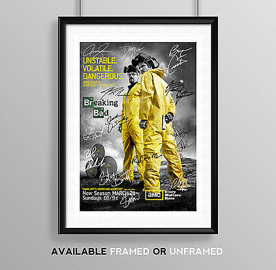 Breaking Bad Cast Signed Autograph Print Poster Photo Tv Show Series Season Dvd