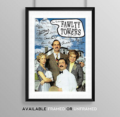 Fawlty Towers Cast Signed Autograph Print Poster Photo Tv Show Series Season Dvd