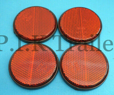 4 x RED Rear Self Adhesive Stick on 60mm Round Reflectors - Trailers