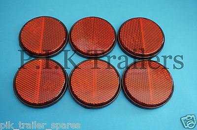 6 x RED Self Adhesive Stick on 60mm Round Rear Reflectors - Trailer