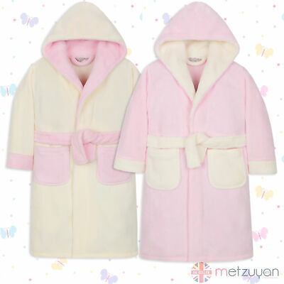 Minikidz Childrens Kids Infant Girls Fleece Dressing Gown Robes Super Soft Cosy