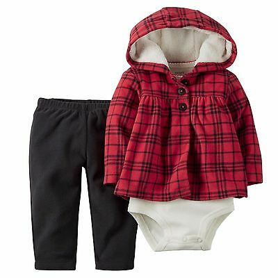 NEW NWT Girls Carter's 3 or 6 Months Hooded Christmas Cardigan Set Plaid