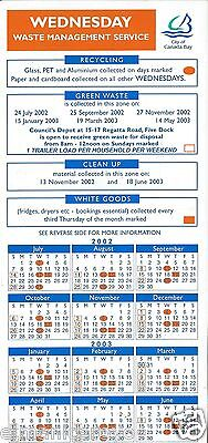 Calendario Retro Calamita Raccolta Differenziata Anno 2002 Australia Cm 10 X 21