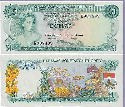 Bahamas 1 Dollar Banknote 1968 Choice Extra Fine Condition Cat#27-987499