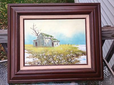 Vintage Gould Landscape Country Shack Daisies Acrylic Painting Wood Frame