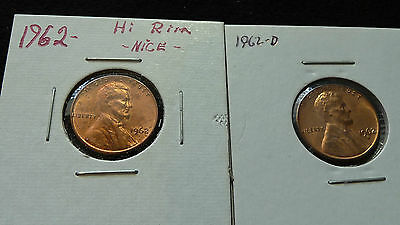 1962 P-D Lincoln Penny's In 2X2'S Uncirculated Condition  J-1-15