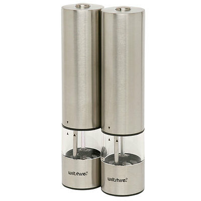 Wiltshire Electric Stainless Steel Salt And & Pepper Grinder Mill 22cm
