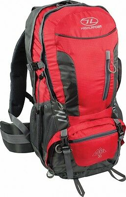 Highlander Hiker 30L Litre Walking Hiking Backpack Rucksack + Raincover - red