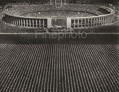 1936 Germany OLYMPICS STADIUM EXERCISE Boys Girls Aerial Photo Art ~ RIEFENSTAHL