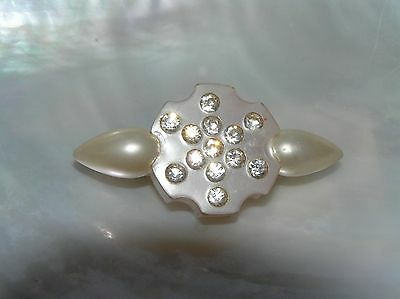 Antique Small Pearly White Plastic Celluloid with Clear Rhinestone Inlaid Bar