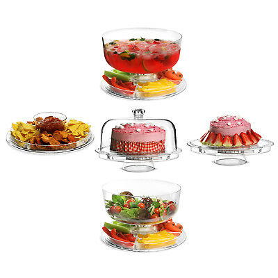 Modern Multi Functional 5 In 1 Design Cake Stand Plastic Cover Salad Bowl & Dome