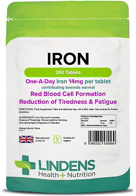 Iron 14mg one-a-day Tablets (360 pack) energy anaemia [Lindens 5569]