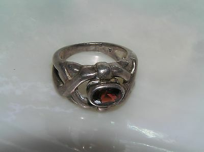 Estate Sterling Silver Signed Open Criss Cross with Oval Faceted Garnet or Red