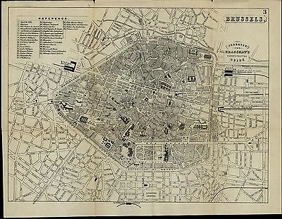 Brussels Belgium c. 1880 detailed scarce folding city plan old map