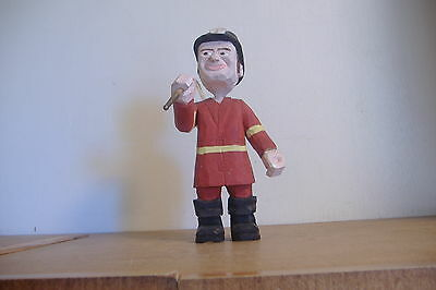 ~Carved Wood Fireman  Figurine~9 Inches Tall~