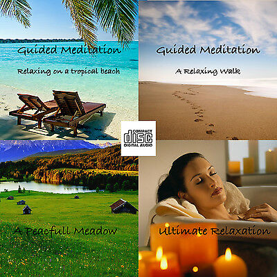 4 x Guided Meditation Relaxation Sessions stress relief help sleep calm CD