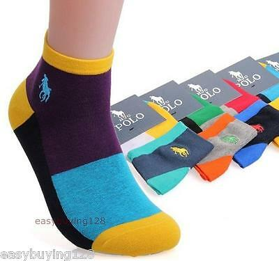 5Pairs Ankle Crew Mens Socks Cotton low cut Casual Sport Multi Color Sock New