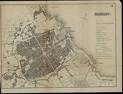 Palermo Italy c. 1880 fine detailed scarce folding city plan old map