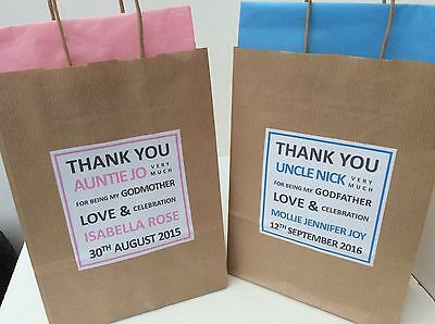 PERSONALISED CHRISTENING BROWN KRAFT GIFT BAG - with tissue paper