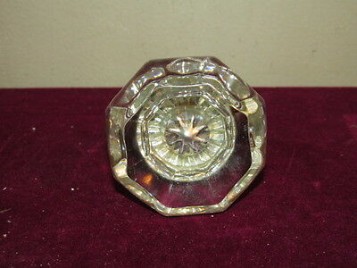 Antique Large Flat Top Hexagonal Door Knob Chrome Brass Back W/ Rod VFC