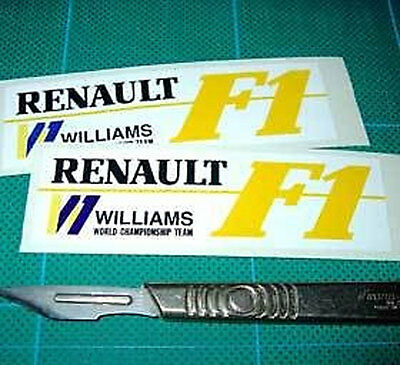 Williams Renault F1 Racing Rally Car fan Sticker Wht x2 each 85mm long Yellow F1