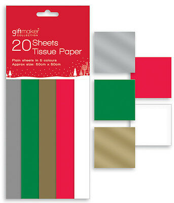 Pack of 20 Sheets Of 50cm x 50cm Christmas Tissue Gift Wrap Assorted Colours