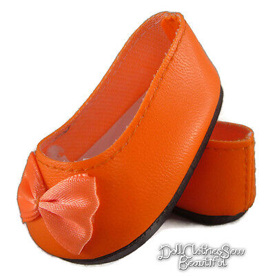 "Orange Ballet Flats Shoes for 18"" American Girl Doll Clothes Accessories"