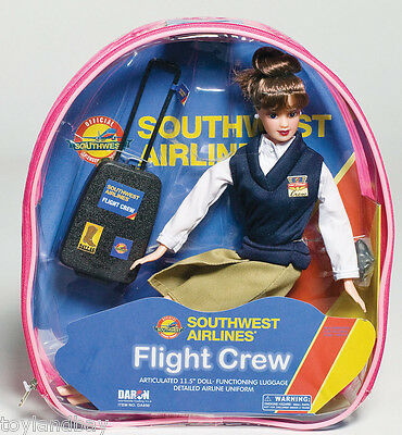 """Flight Attendant Doll Southwest Airlines 11"""" Brunette Backpack & Accessories SWA"""