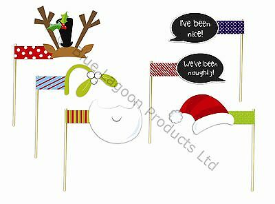 Pack of 6 Novelty Christmas Photo Booth Props Fancy Dress Festive Party Activity