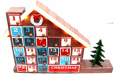 LED Wooden Advent Calendar Christmas Advent Calender Warm LED Lights House New