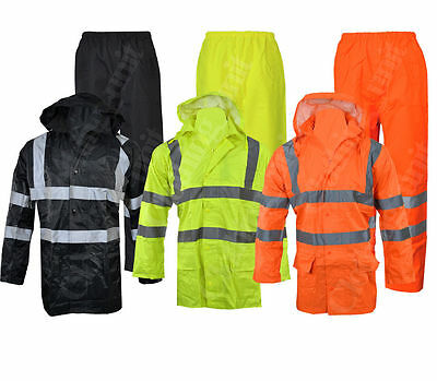 Hi Vis Viz Visibility Work Wear Safety Over Trousers And Waterproof Jacket Set