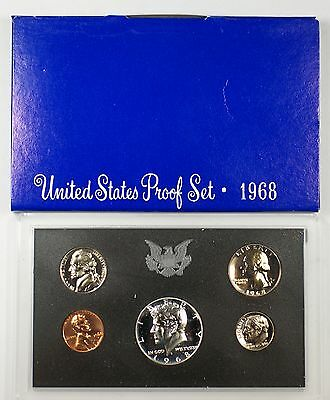 1968 US Mint Proof Set 5 Gem Coins 40% Silver Half w/ Box
