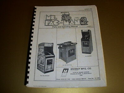 bally midway super pac man arcade game parts and operating manual ms pac man parts and operating manual 1982 midway mfg