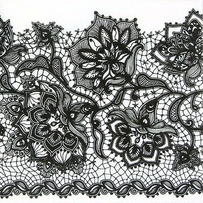 4x Paper Napkins for Decoupage - Gloria Lace Black on White