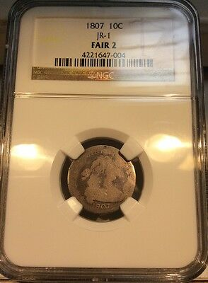 RARE!!! 1807 10c Draped Bust Dime NGC FR-02 Fair 2 JR-1 $375 Guide Price