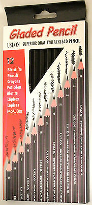 1 Single or Set of 12 - Graded Drawing Sketching Artists Pencils Grey lead