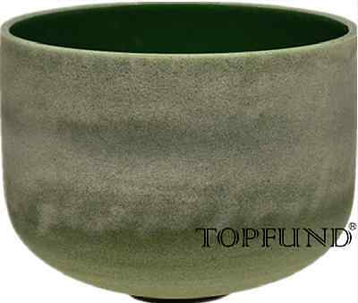 """Emerald Fusion C# Adrenals Chakra Frosted Crystal Singing Bowl 10"""""""
