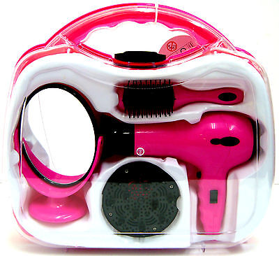 Hairstyler Set Battery Operated Girls Hair Dryer Set in Carry Case with Mirror