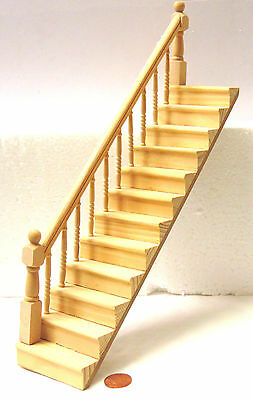 1:12 Scale Natural Finish Dolls House Stair Case With Fixed Left Bannister Rail